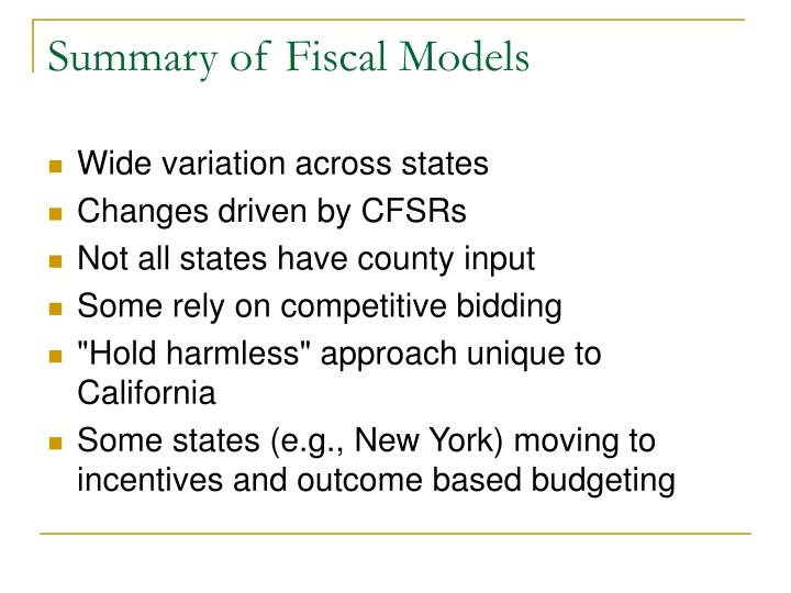 Summary of Fiscal Models