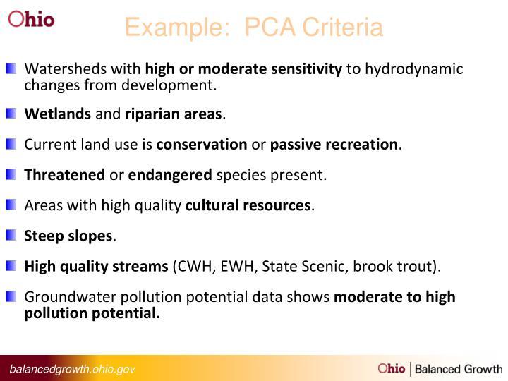 Example:  PCA Criteria