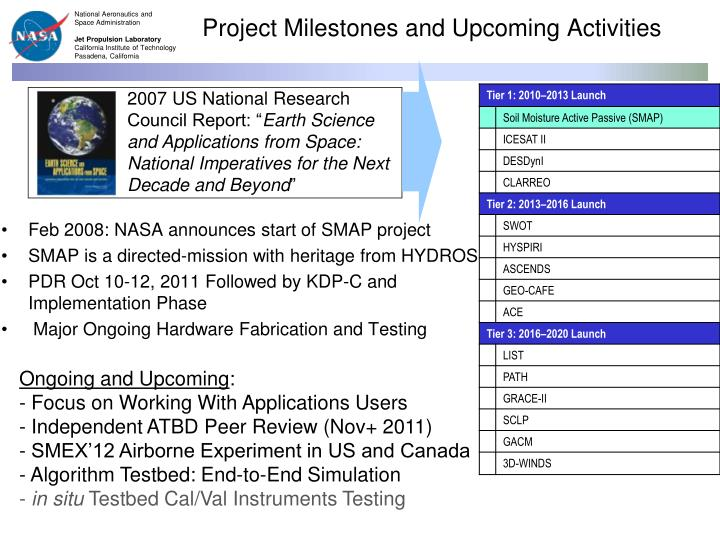 Project milestones and upcoming activities