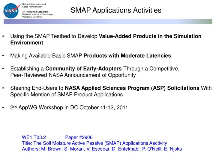 SMAP Applications Activities