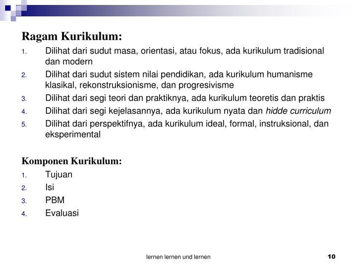 Ragam Kurikulum: