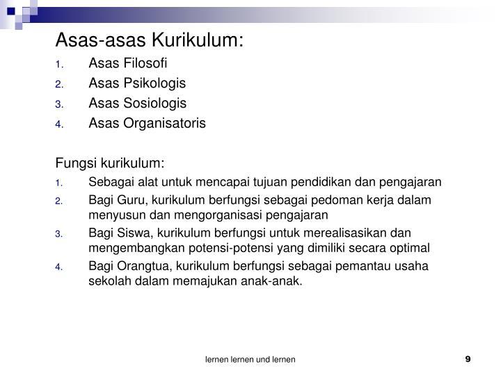 Asas-asas Kurikulum: