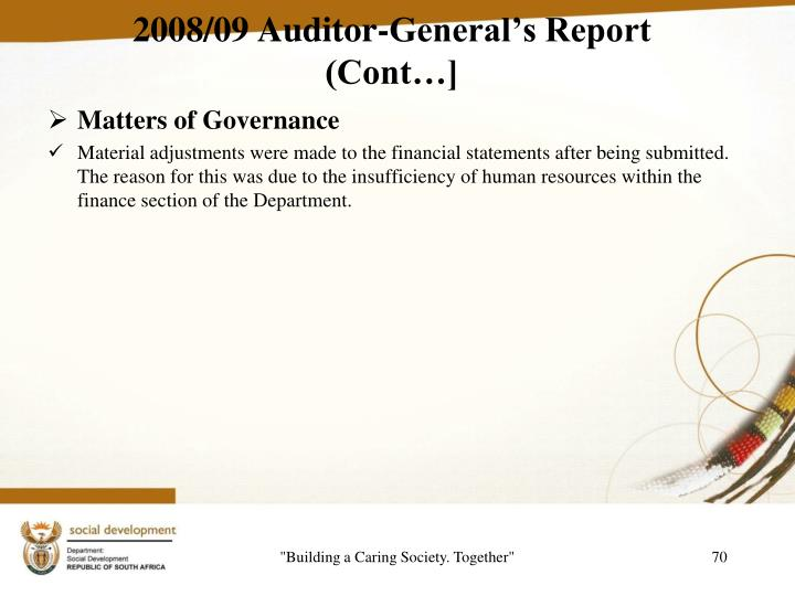 2008/09 Auditor-General's Report (Cont…]
