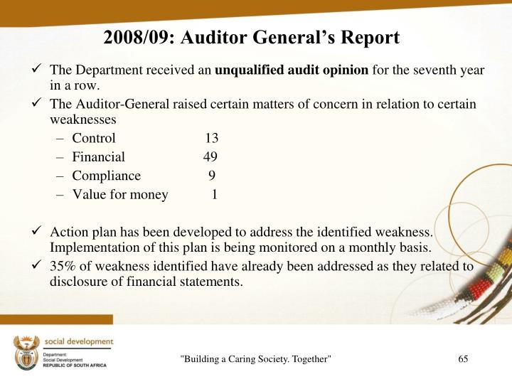 2008/09: Auditor General's Report