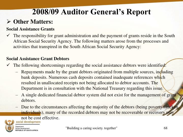2008/09 Auditor General's Report
