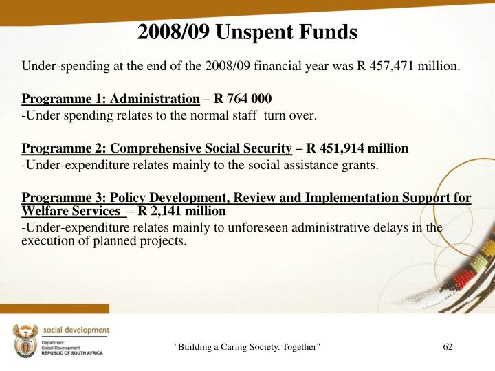 2008/09 Unspent Funds