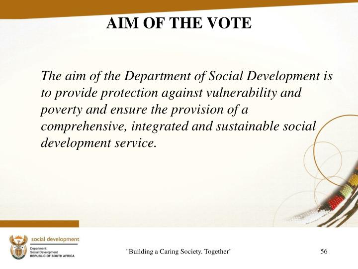 AIM OF THE VOTE