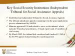 key social security institutions independent tribunal for social assistance appeals