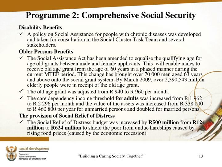 Programme 2: Comprehensive Social Security