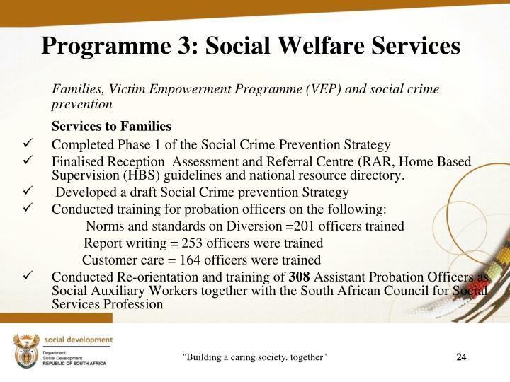 Programme 3: Social Welfare Services