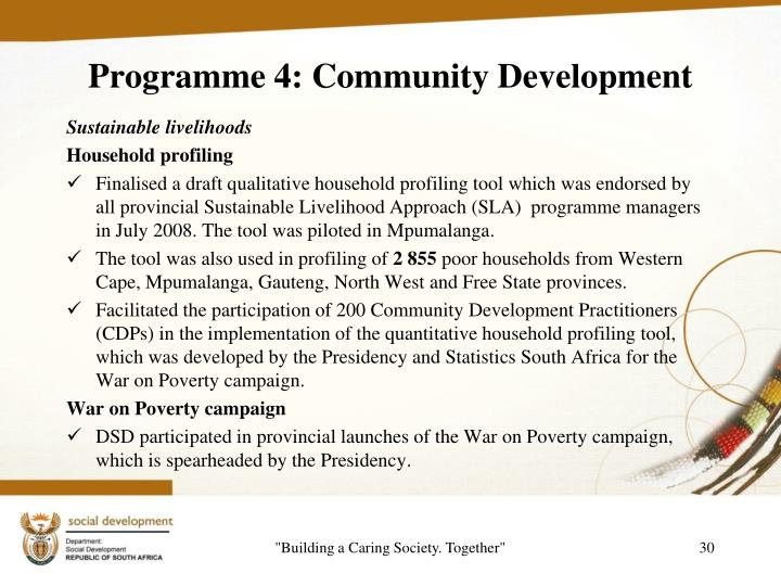 Programme 4: Community Development