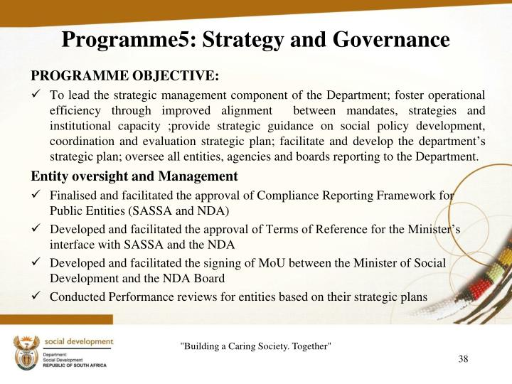 Programme5: Strategy and Governance