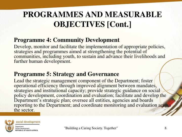 PROGRAMMES AND MEASURABLE OBJECTIVES [Cont.]