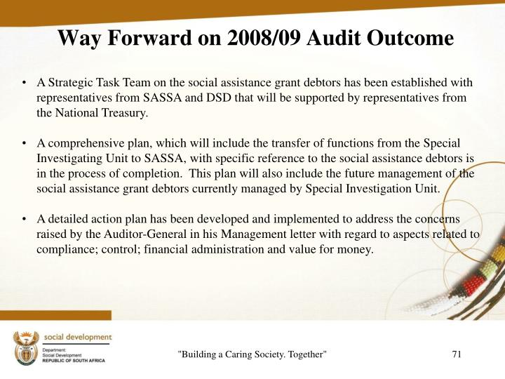 Way Forward on 2008/09 Audit Outcome