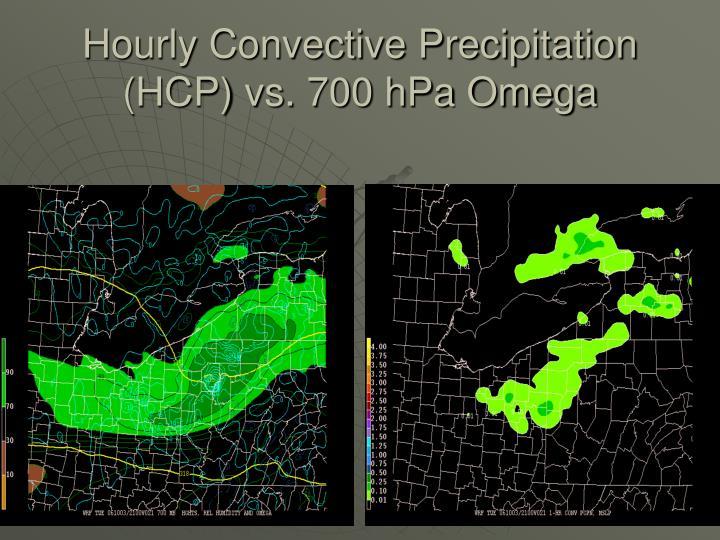 Hourly Convective Precipitation (HCP) vs. 700 hPa Omega