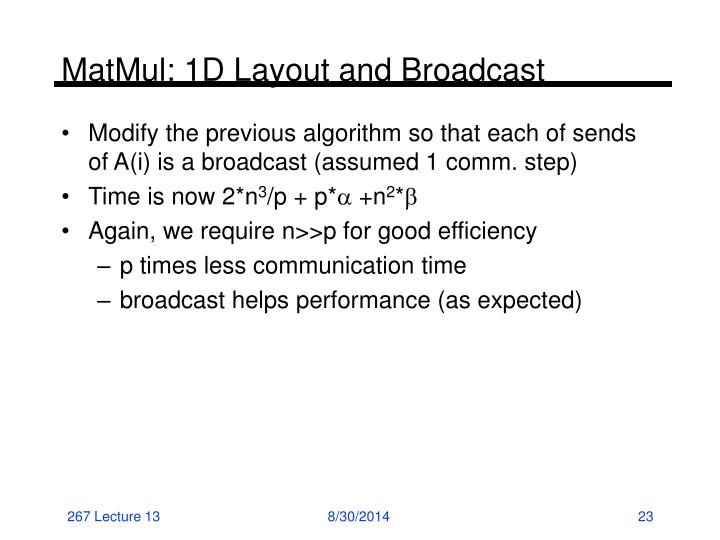 MatMul: 1D Layout and Broadcast