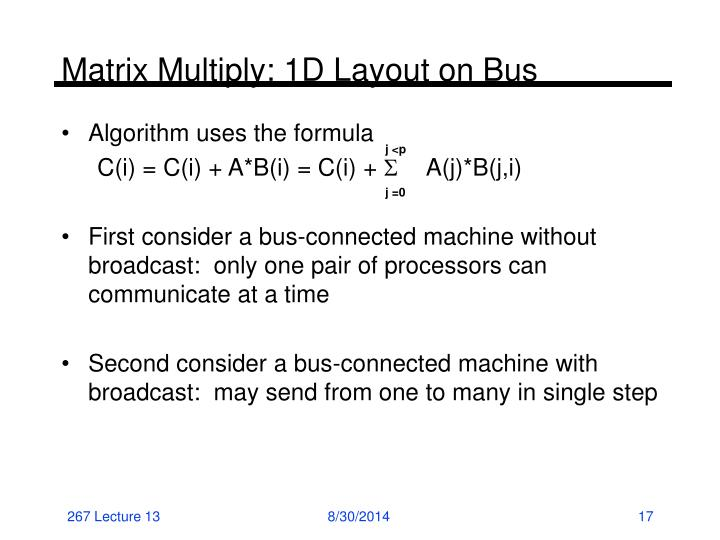 Matrix Multiply: 1D Layout on Bus