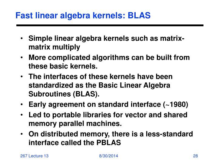 Fast linear algebra kernels: BLAS