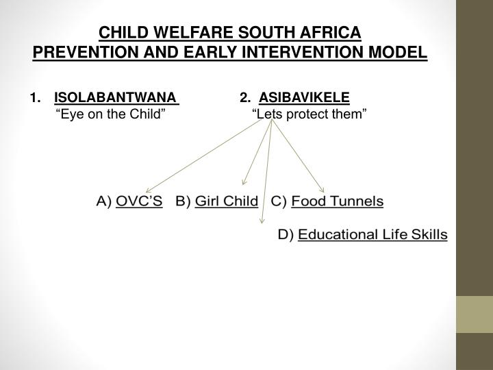 Child welfare south africa prevention and early intervention model
