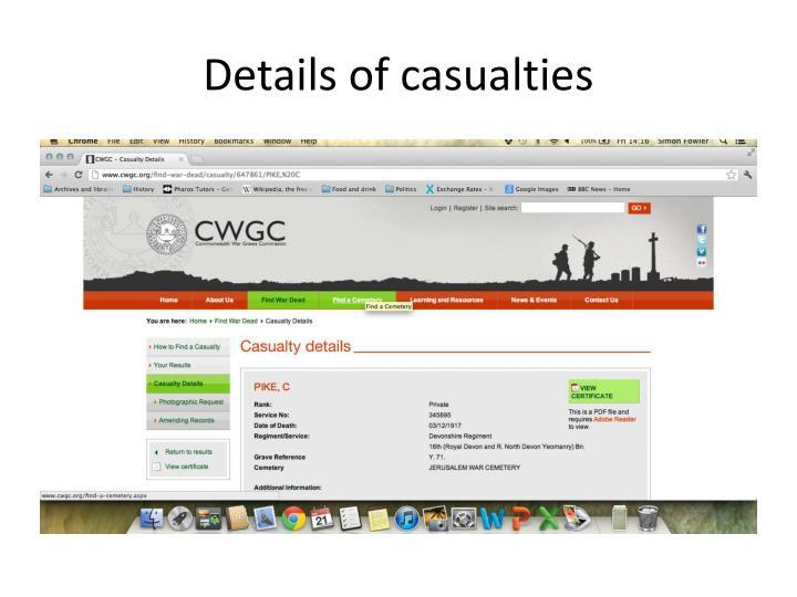 Details of casualties