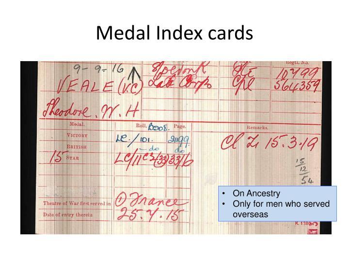 Medal Index cards