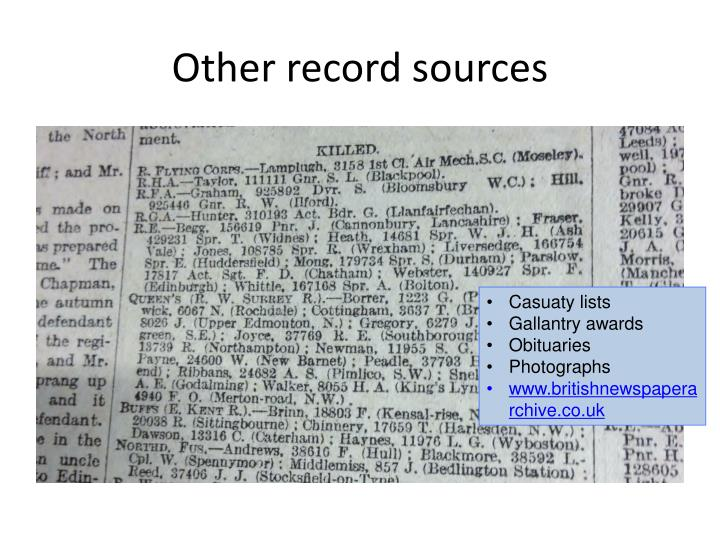 Other record sources