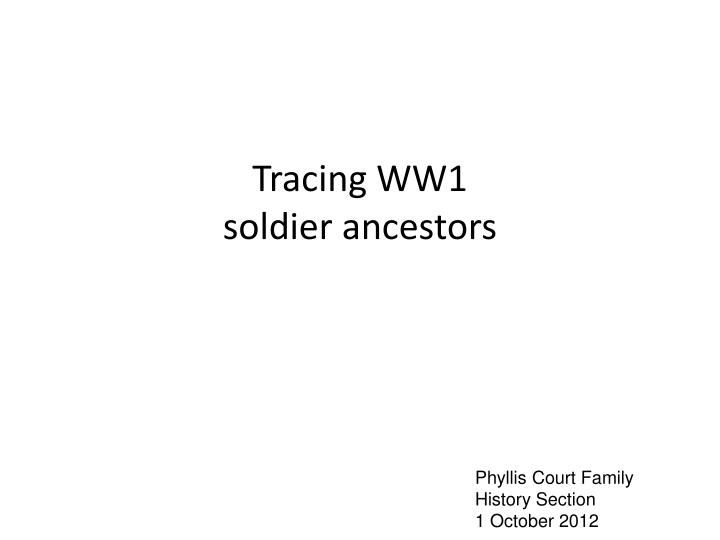 tracing ww1 soldier ancestors