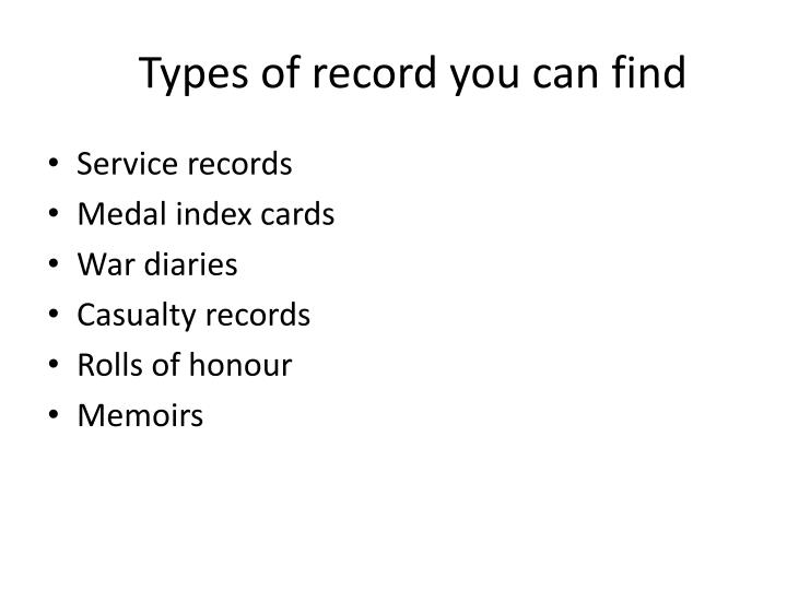 Types of record you can find