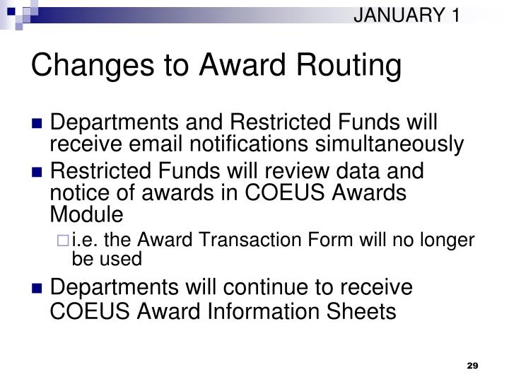 Changes to Award Routing