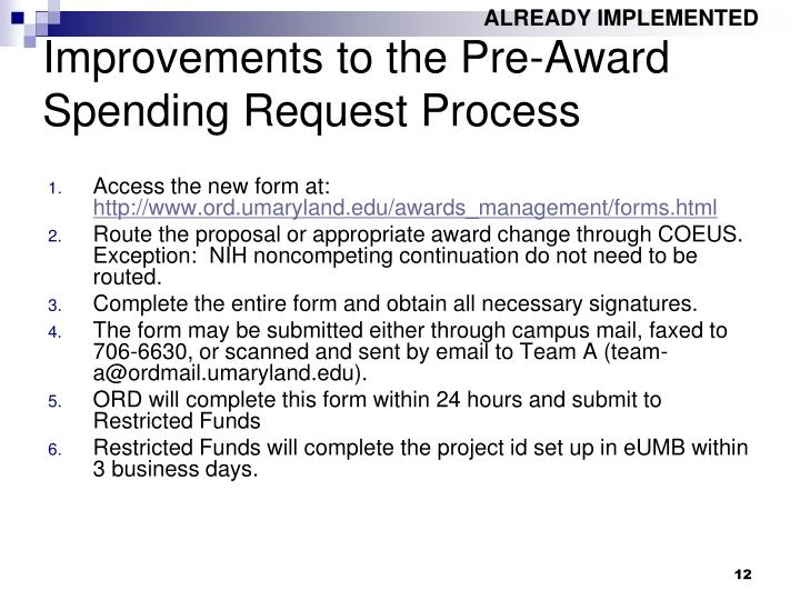 Improvements to the Pre-Award Spending Request Process