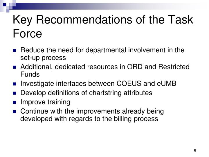 Key Recommendations of the Task Force