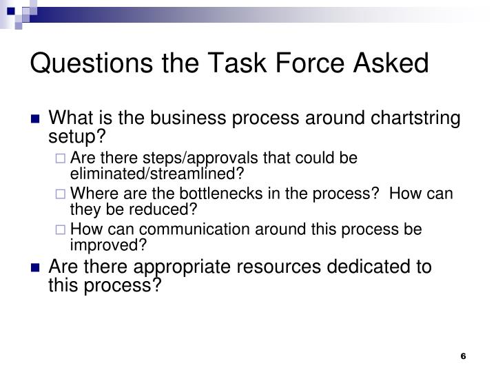 Questions the Task Force Asked