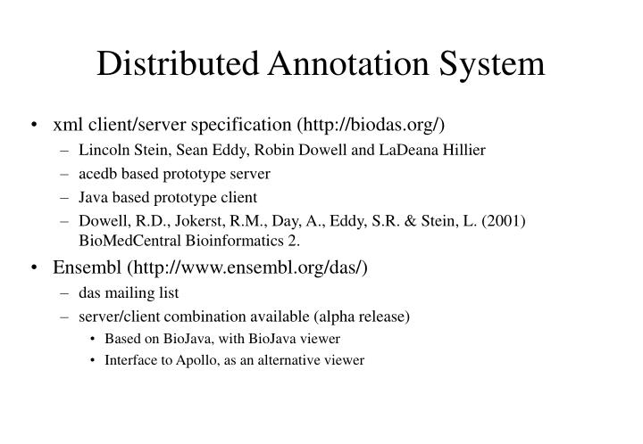 Distributed Annotation System