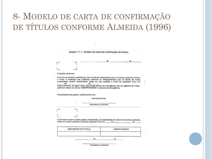 8- Modelo de carta de confirmação de títulos conforme Almeida (1996)