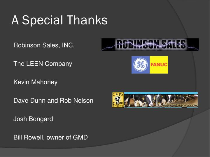 A Special Thanks