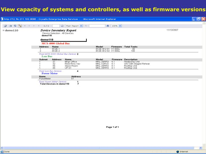 View capacity of systems and controllers, as well as firmware versions