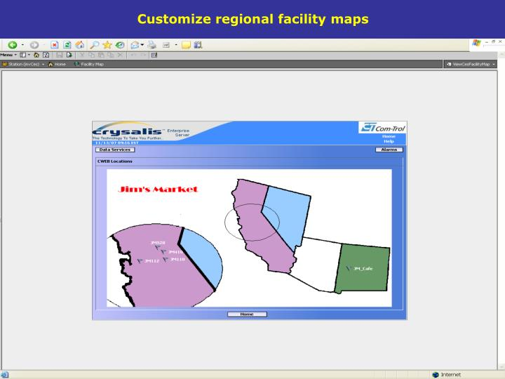 Customize regional facility maps