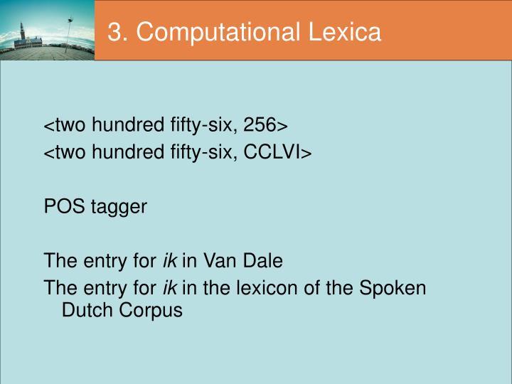 3. Computational Lexica