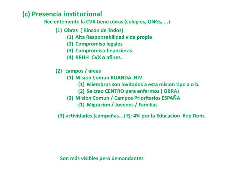 (c) Presencia institucional