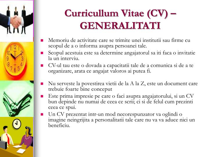 Curricullum Vitae (CV) –GENERALITATI