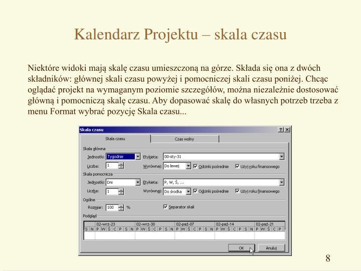 Kalendarz Projektu – skala czasu