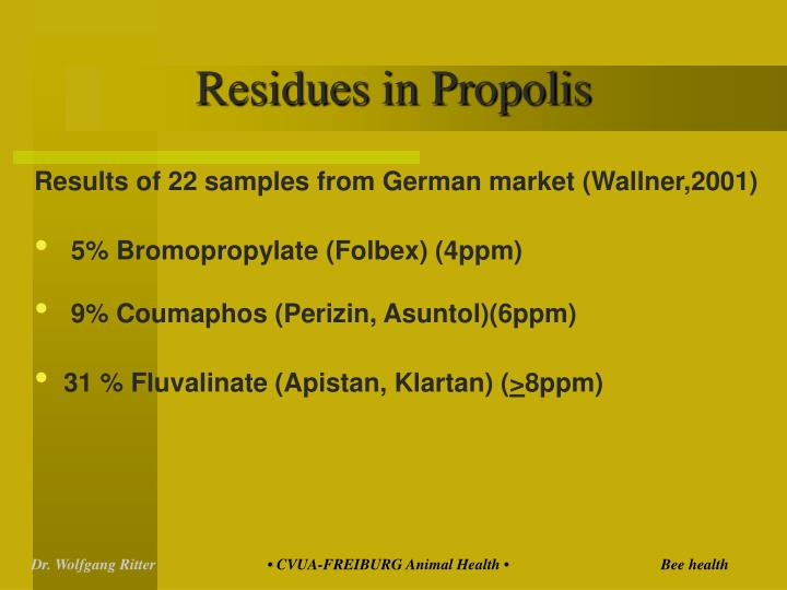 Residues in Propolis