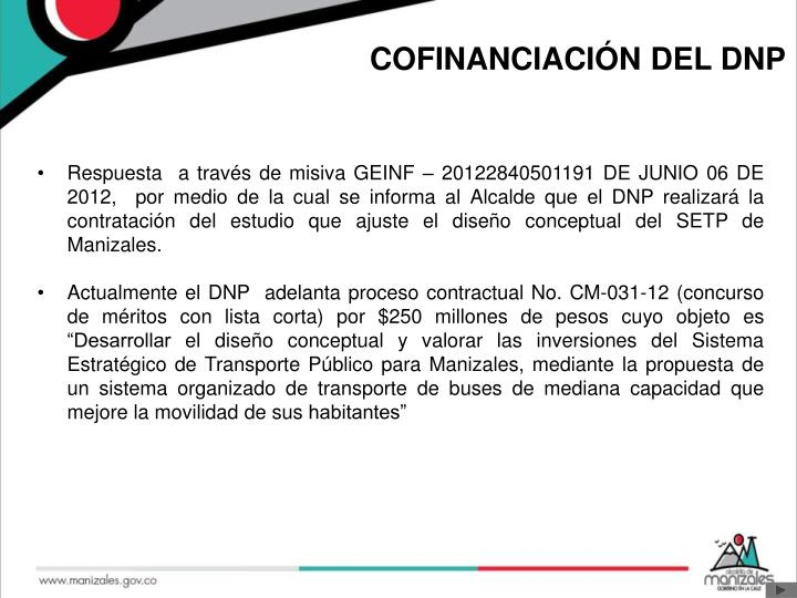 COFINANCIACIÓN DEL DNP