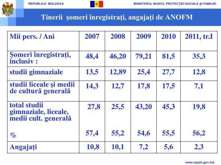 Tinerii  şomeri înregistraţi, angajaţi de ANOFM