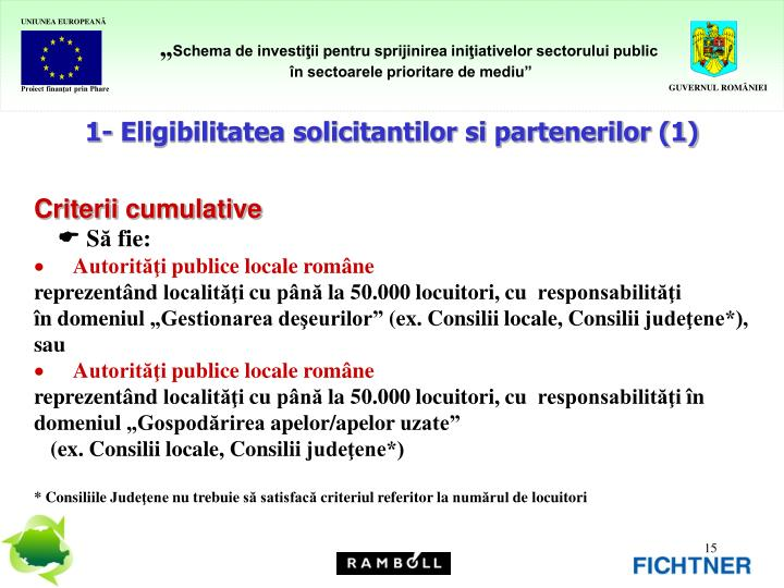 1- Eligibilitatea solicitantilor si partenerilor (1)