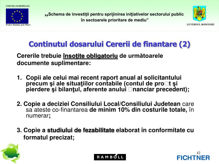 Continutul dosarului Cererii de finantare (2)