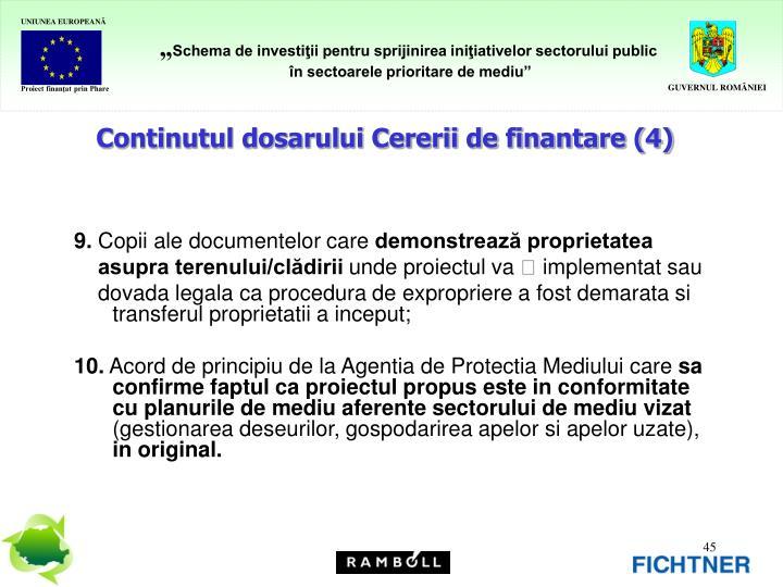 Continutul dosarului Cererii de finantare (4)