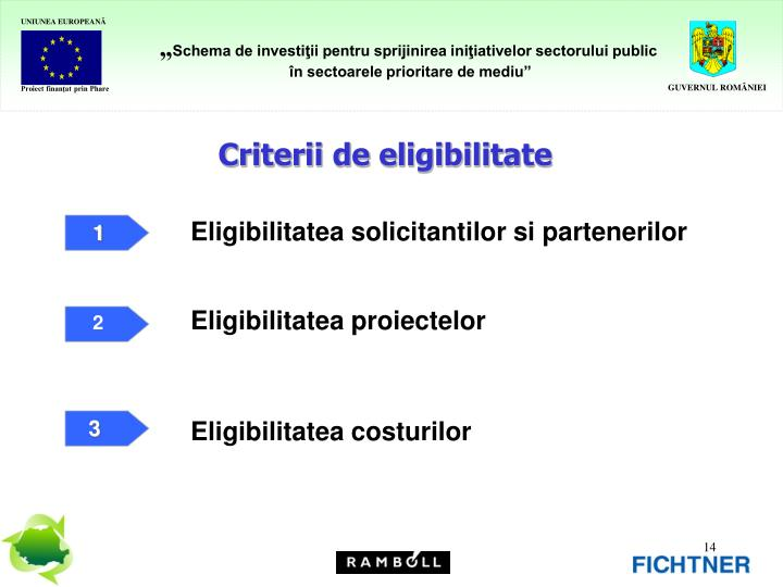Criterii de eligibilitate