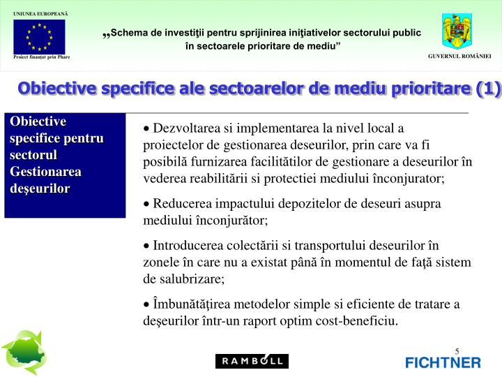 Obiective specifice ale sectoarelor de mediu prioritare (1)