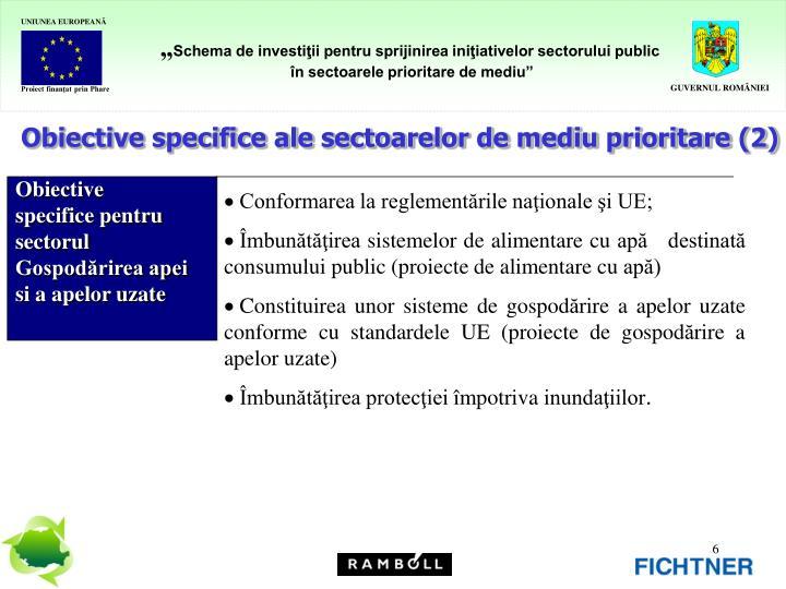 Obiective specifice ale sectoarelor de mediu prioritare